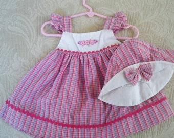 Vintage Clothing Baby Girl Sundress & Bonnet Size 3 - 6 Months Carter Baby Clothing