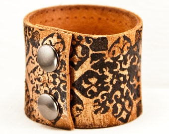 Boho Bracelets Cuffs - Earthy Natural Handpainted Leather Bands - Etsy Love