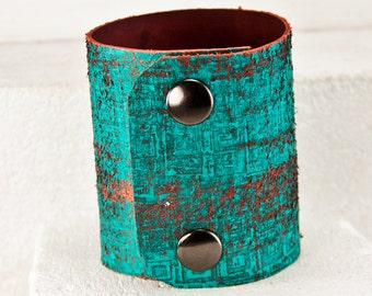 Teal Jewelry Turquoise Bracelets Leather Cuffs Wristbands - Painted Leather, Womens Gift, February Trends, Valentine's Day - Uniqe Finds