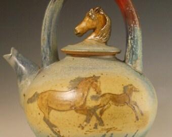 Arabian Horses Lg Teapot