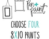 FOUR 8 x 10 art prints, Inspirational Quote, Bible Verse, Scripture, Kitchen Art, Colorful, Joy Quote, Inspiring Quote