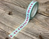 Washi Tape - 10mm - Magenta Birds on Wire - Deco Paper Tape No. 1129
