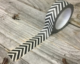 Washi Tape - 15mm - Black and Charcoal Chevron Pattern on White - Deco Paper Tape No. 650