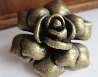 Rose Dresser Drawer Knobs - Decorative Knobs in Brass Metal (MK112B)