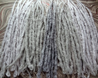 Full kit of 60 Single ended knotty dreadlock extensions. White, light gray silver. Medium long length 16 inches. Made and Ready to Ship.