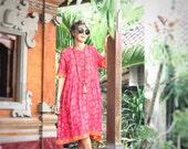 Made Dress With Skirt, Bali Batik, Rayon, Sizes XS/S, M/L, XL/2X, My Bali Closet