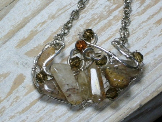 Rutilated Quartz Necklace,Antiqued Sterling Silver Chain