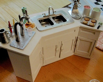 Dollhouse miniature diner or ice cream work counter with sink with TYA mixer