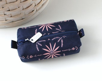 Small Boxy Pouch Coral and Navy Blue Coin Purse Dark Blue Change Purse Credit Card Holder