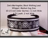 Jan's Martingales, Black Collar and Leash Combination Walking Lead, Whippet, Medium Dog Size, wblk217