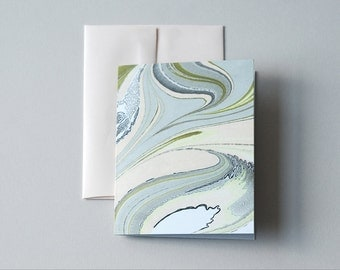 Marbled Notecard in Pale Peach and Sea Greens