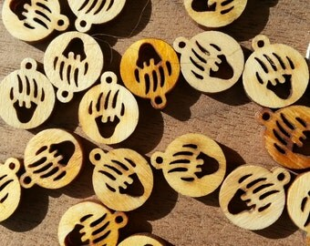 Tribal Bear Pawprint  Laser Cut Wood Pendant - One Piece - Stock No. DESIGN21-SM