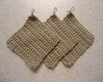Set of 3 Taupe Hand Crocheted Potholders - Kitchen Decor