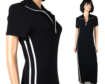 Vintage Disco Dress M L 70s Black White Striped Long Maxi Costume Super Stretchy Free US Shipping