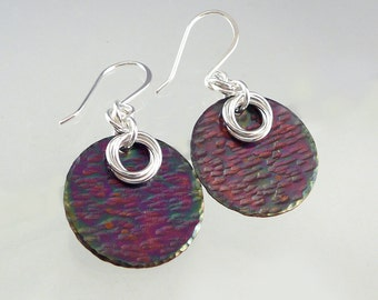 Purple Earrings, 925 Jewelry, Cool Earrings, Smart Jewelry, Round Drop Earrings, Boho Jewelry, Mixed Metal Earrings, Unique Copper Earrings