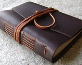 "Leather Journal, lined pages, approx. 4""x 6"", dark brown, handmade journal(1921)"
