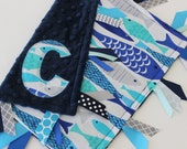 Taggie, blanket, baby, minky, Mod Fish, fish, ocean, nautical, navy, ribbon, personalized, blue, aqua, gray