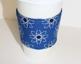 Atomic Symbol in Blue Reusable Coffee Sleeve