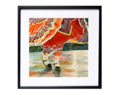 1. Mexinan Dance Art / Watercolor print / Color field red painting Mexican dancers children / Folk art traditional costume Wall decor 12x12