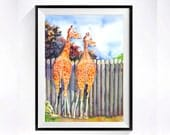 1. For him giraffe painting watercolour Pint African giraffe wall hanging Watercolor painting vintage Home wall decor artwork