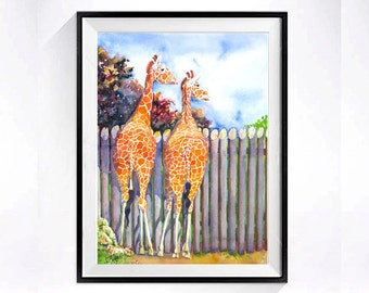 For him giraffe painting watercolour Pint African giraffe wall hanging Watercolor painting vintage Home wall decor artwork