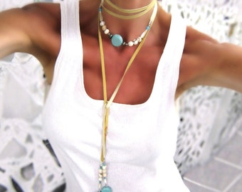"Beaded Wrap Necklace with Leather-Long Boho Wrap Necklace in Turquoise & White Black or Brown Leather For Music Festival  Free Ship 79""4240N"