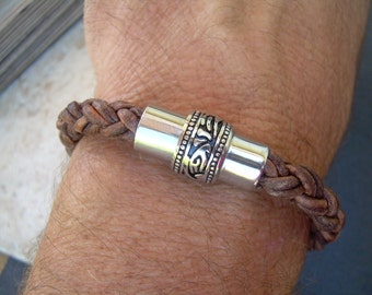 Mens Thick Braided Leather Bracelet with a Large Filigreed Stainless Steel Magnetic Clasp, Fathers Day Gift, Mens Bracelet, Mens Jewelry,
