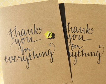Thank You Cards - Shower Thank You Cards - Wedding Thank You Cards -Friendship Cards - Set of 4 cards  - wf13
