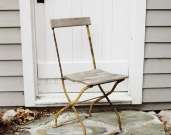 Vintage Bistro Chair Wood And Metal Folding Chair