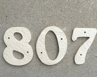 House Numbers, Clay Numbers, Digits, 5 inch, 6 inch, Outdoor, House Decor, White Number, Handmade Pottery, Ceramic House Numbers, j clay