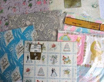 Vintage Bridal Shower Baby Shower Gift Wrap New Old Stock Paper Lot