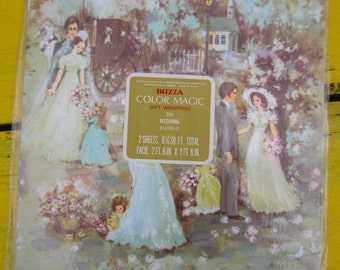 Vintage 1970s Retro Wedding Shower Gift Wrapping Gibson Greetings Buzza Color Magic