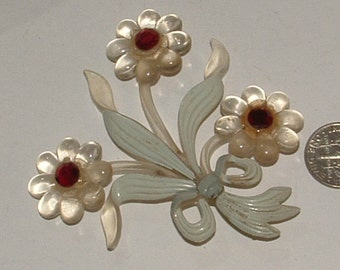 glowing 1920s bow and flower pin in CELLULOID- SO PRETTY - just not original pinback