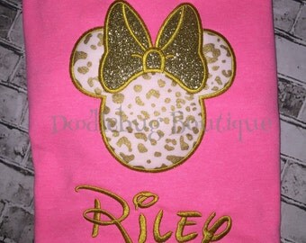 Glitter leopard Minnie Mouse shirt