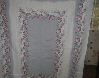 1950s PRINT KITCHEN TABLECLOTH - Spring Bouquet on Grey