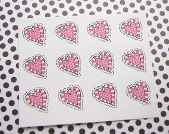 Valentine Stickers Heart Stickers One Inch Round Ses301
