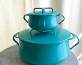 Vintage Dansk Kobenstyle Mini Dutch Oven Aqua Enamel Cookware IHQ Jens Quistgaard