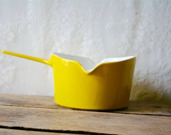Vintage Copco Butter Sauce Pan Michael Lax Enameled Cast Iron Brilliant Yellow