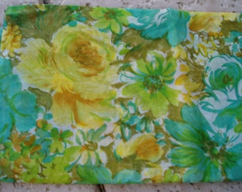 Vintage Big Bold Flowers in Teal/Yellow/Brown 2 Yards