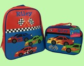 Child's Personalized Stephen Joseph GoGo RACECAR Themed Backpack and Lunchbox School Set-Monogramming Included In Price