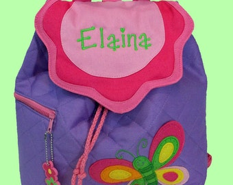 Personalized Child's Stephen Joseph Purple Quilted BUTTERFLY Backpack-Monogrammiong Is Included