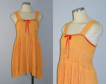 ON HOLD / Not for Sale / Orange You Sweet dress / vintage 1960s crochet dress / knit babydoll dress