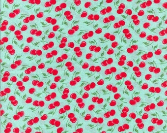 "Aqua and Red Cherry Print Challis, Gertie by Gretchen Hirsch Fabric, 54"" wide, 1 yard"