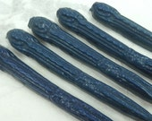 Natural Sealing Wax 5 sticks NAVY BLUE color with wick Traditional mold - for stamps