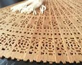 Vintage Genuine SANDALWOOD FAN handmade with delicate carving authentic sandalwood scent