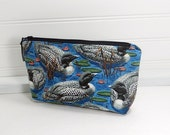 Zipper pouch - Loons Makeup bag - small cosmetic bag - cosmetic pouch - small makeup bag - Loon zipper bag
