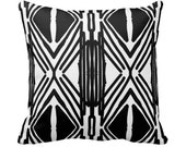 Modern Black and White Graphic Designer Throw Pillow w/ Insert