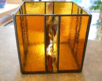"4"" X 4"" X4"" Stained glass candle holder"
