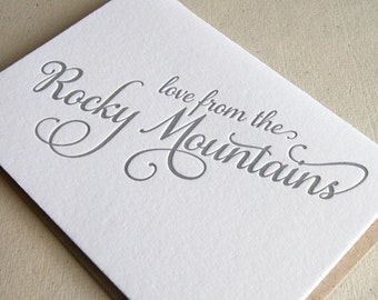 Letterpress Greeting card - Regional Love from the Rocky Mountains