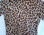 FLASH SALE short sleeve leopard print animal sweater jumper shirt 90s 80s grunge